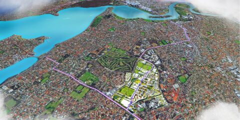 Digital render of birds-eye view of a sustainable city